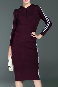 Dezzal - Dezzal Knitted Pullover Hoodie With Sheath Skirt - AdoreWe.com
