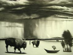 """Samuel Jan, World Without Us, 24""""x 20"""" charcoal on paper, SOLD"""