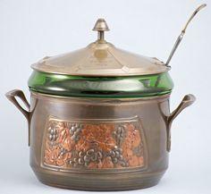 ORIVIT Art Nouveau punch bowl, brass with glass liner, Germany