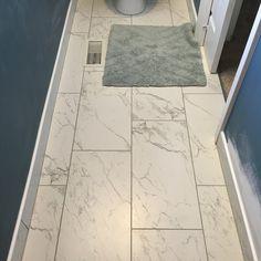 Best Bathroom Flooring, Best Flooring For Kitchen, Bathroom Floor Tiles, Master Bath Remodel, Master Bathroom, Small Bathrooms, Marble Look Tile, Wood Look Tile Floor, 12x24 Tile Patterns