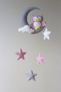 Pink Owl Moon Stars Baby Mobile Nursery Decor Merino Felt.