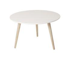 Cappuccino soffbord Ø80 i whitewash ek och vit skiva