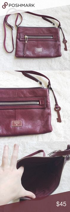 Fossil Preston Maroon Burgundy Crossbody Purse Also like new. I have too many bags and although it's super cute, I need to get rid of some. Beautiful color Fossil Bags Crossbody Bags