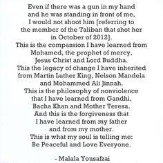 Malala Yousafzai. Love this. <3