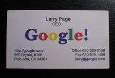Google CEO Larry page's business card..!!