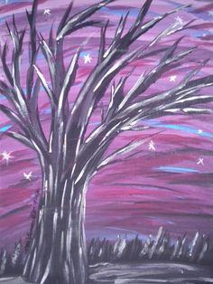 Tree Painting  - Landscape - Winter Tree at Dusk  -  Original Acrylic painting on Canvas - Tree Art - purple