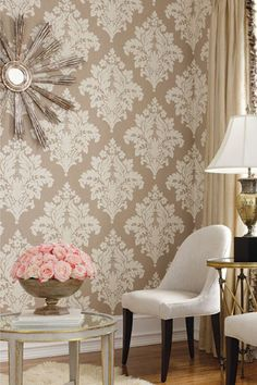 Accent Wall Idea   Damask Wallpaper, Probably For Livingroom Or Diningroom. Part 73