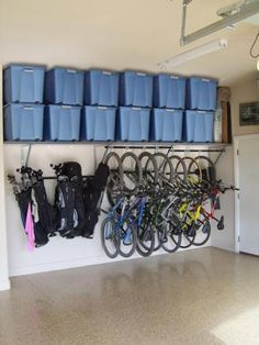 all our bikes, all in a row, it's so beautiful. I need this. Love the hanging ball bags!!