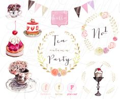 Check out Autumn Tea Party Watercolours by Halftone Studio on Creative Market