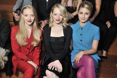Amanda Seyfried, Emma Stone, and Dianna Argon at the Miu Miu S/S 2013 show. The blonde fashion powerhouse.