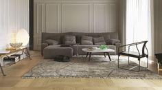 Canapé d'angle Wow Sofa Driade - Marron/Gris | Made In Design Philippe Starck, Paramount Hotel, Sofa Design, Interior Design, Plywood Panels, High Back Chairs, Architectural Digest, Club Chairs, Contemporary Architecture