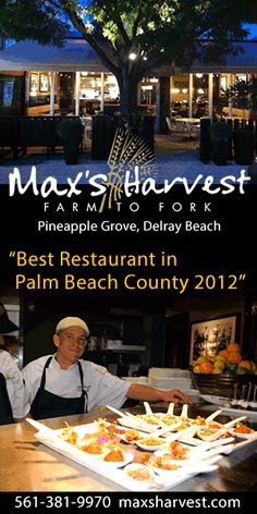 Monday, October 8, 2012  5:30 PM - 7:30 PM  Max's Harvest - Young Professionals Happy Hour Network  Max's Harvest, 169 NE 2nd Ave., Delray Beach, Florida 33444  https://www.facebook.com/events/500850733260506/