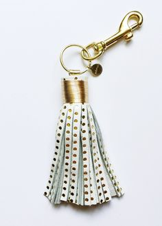 large gold dot tassel keychain