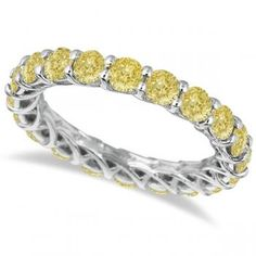Ring of the Day - Fancy Yellow Canary Diamond Eternity Ring Band White Gold Yellow Diamond Bands, Colored Diamond Rings, Canary Diamond, Yellow Diamonds, Engagement Rings Sale, Round Diamond Engagement Rings, Solitaire Engagement, Wedding Rings Solitaire, Wedding Rings Vintage