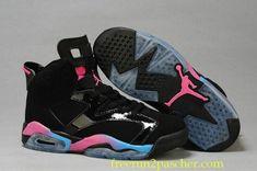 online store 83247 155db Air Jordan VI 6 GS Noir Rose Flash Marina Bleu 543390-050 Running Shoes Nike