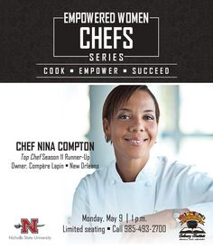Our second chef for the Empowered Women Chefs Series will be Nina Compton! Chef Nina will be demonstrating ricotta gnocchi with tomato confit as well as talking about her experiences of working in the industry. Chef Nina competed on Season 11 Top Chef: New Orleans finishing as runner-up and fan favorite.  Seating is limited please call 985-493-2700 for reservations. #EmpoweredWomenChef #ChefSeries #NichollsCulinary #CJFCI #FemaleChef #WomenInCulinary #chefsofinstagram #TopChef #NinaCompton… Ricotta Gnocchi, Empowered Women, My Passion, Women Empowerment, New Orleans, Plating, Chefs, Instagram Posts, Fan