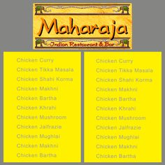 Indian Restaurant Menu Board : Front