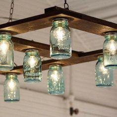 Super Farmhouse Kitchen Diy Jar Lights Ideas Source by Hanging Mason Jar Lights, Mason Jar Light Fixture, Mason Jar Lighting, Ball Jar Lights, Diy Light Fixtures, Diy Hanging, Light Fittings, Pot Mason, Mason Jar Lamp