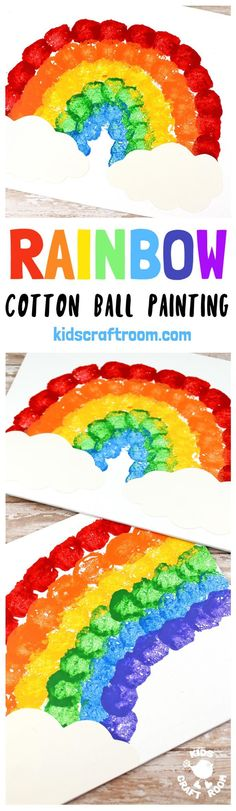 RAINBOW COTTON BALL PAINTING is lots of fun, looks amazing and develops kids motor skills and hand-eye co-ordination. Painting with cotton balls is exciting for kids and a great way to broaden their painting experiences away from just traditional brushes. Rainbow Activities, Rainbow Crafts, Rainbow Art, Spring Activities, Craft Activities For Kids, Toddler Activities, Preschool Activities, Preschool Weather, Rainbow Painting