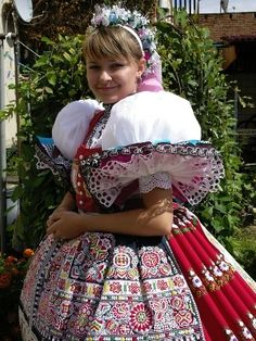 Europe | Portrait of a woman wearing traditional clothes, Czech Republic