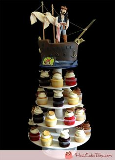 Birthday Pirate Ship Cupcake Tower