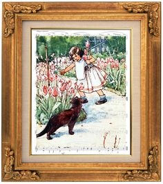 Girl in Garden with Cat, Flowers, Brown Cat, Sheet Music Art, Nursery, Baby, Kids, Childrens Room, Decor, Wall Hanging, Wall Decor, Prints