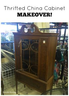 Thrifted China Cabinet Makeover - I found this china cabinet at the thrift store for only $40 and knew it would look great with my thrifted china in it! Click to see the AFTER and full post with lots of pics. :)