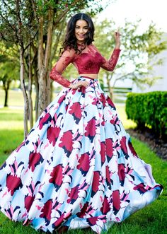 Karishma Creations two piece prom dress with lace long sleeve top and floral patterned full skirt. #KarishmaCreations