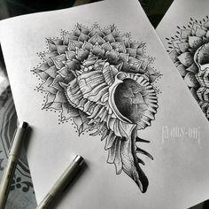 Shell tattoosketch by Family Ink #dotworktattoo #mandalatattoo