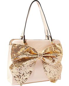 Betsey Johnson creamy tan satchel with gold bow. Betsy Johnson Purses, Betsey Johnson Handbags, Cute Handbags, Purses And Handbags, Leather Handbags, Handbag Accessories, Fashion Accessories, Backpack Purse, Satchel Purse