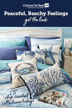 Coastal Bedding, Coastal Decor, Home Decor Furniture, Home Decor Bedroom, Kitchen Desk Areas, Beach House Decor, Beach Condo, Beach Theme Bathroom, Apartment Makeover