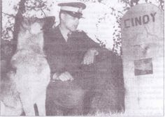 In 1966: RCMP Cst. Bob Stephens and his new dog Ero visiting Cindy's grave.   Picture from 'Kamloops Daily News'   Article by Cassidy Olivier