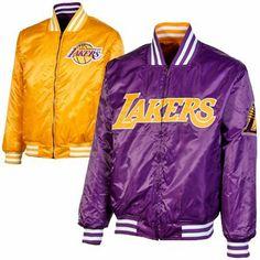4761efe5b03 Majestic Los Angeles Lakers Reversible Satin Full Zip Jacket - Purple Gold