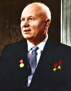 Nikita Khrushchev (1894 - 1971) Former leader of the Soviet Union, most notably at the time of the Cuban missile crisis, later removed by Leonid Brezhnev and his clique
