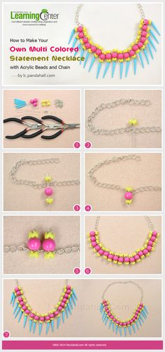 How to Make Your Own Multi Colored Statement Necklace with Acrylic Beads and Chain