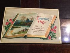 Remember Me Antique Postcard Book Fishing Embossed Series No 1550 Germany