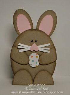Stampin' Up!- A CUTE little bunny card!  His whiskers are made with the Fringe Scissors!