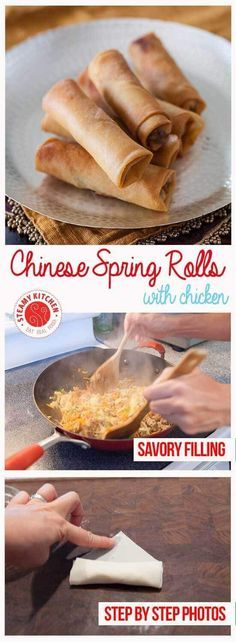 Chinese Spring Rolls with Chicken Recipe (fried) - light, crisp-crackly skin and small enough to enjoy in 4 bites, light and full of tender-crisp vegetables filling| steamykitchen.com ~ https://steamykitchen.com