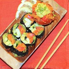 Pinned For the sauce recipe http://makobiscribe.com/sushi-rolls-with-spicy-orange-avocado-sauce/