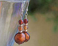 Murano-glass-topaz-disc-ear Glass Earrings, Drop Earrings, Murano Glass, Different Styles, Wind Chimes, Topaz, Beautiful, Color, Jewelry