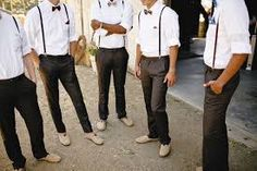 guys in suspenders wedding no ties beach - Google Search