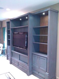 Distressed Finish Entertainment Center