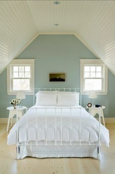 Soothing Bedroom Colors: The contemporary bedroom is painted Benjamin Moore Silver Gray with soft Benjamin Moore White Dove trim. Attic Bedrooms, Master Bedroom, Tranquil Bedroom, Bedroom Wall, Master Suite, Eaves Bedroom, White Bedrooms, Bedroom Ceiling, Master Bath
