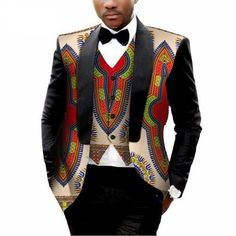 WSPLYSPJY Mens Embroidered Lapel Print Pattern Slim Suit Blazer Jackets