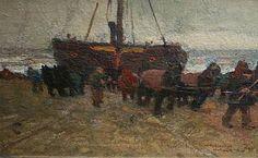 Vissers op het strand van Katwijk aan Zee Willy Sluiter