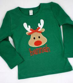 Artículos similares a Girl Rudolf Name Tee en Etsy Christmas Jumpers, Christmas Pajamas, Christmas Baby, Christmas Shirts, Ugly Christmas Sweater, Christmas Applique, Christmas Embroidery, Childrens Christmas, Family Shirts