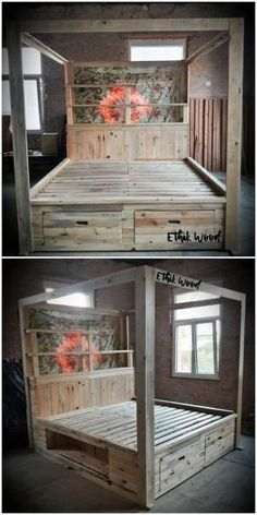 Superb Ideas of Old Wood Pallets Reusing Pallet bed designing with the drawers custom use is quite a Wood Pallet Beds, Pallet Patio Furniture, Wooden Pallet Projects, Wooden Pallets, Bed Furniture, Furniture Design, Furniture Ideas, Pallet Ideas, Wood Ideas