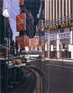 Broadway and - Richard Estes 2005 Window Reflection, Golden Time, A New York Minute, Realistic Paintings, Shop Fronts, Urban Life, Realism Art, City Art, Painting Inspiration