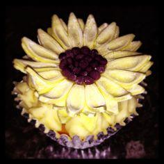 Sunflower topped lemon cupcake