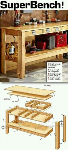 DIY plans for a simple, useful workbench. #WoodworkingPlansForKids